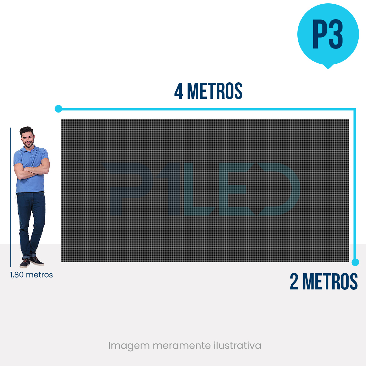 Painel de LED para Vitrine 4x2 - Telão P3 Outdoor  - Painel e Telão de LED - O Melhor Preço em Painel de LED | P1LED