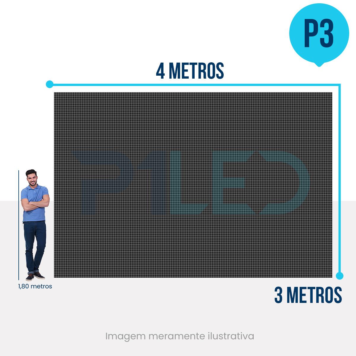 Painel de LED para Vitrine 4x3 - Telão P3 Outdoor  - Painel e Telão de LED - O Melhor Preço em Painel de LED | P1LED