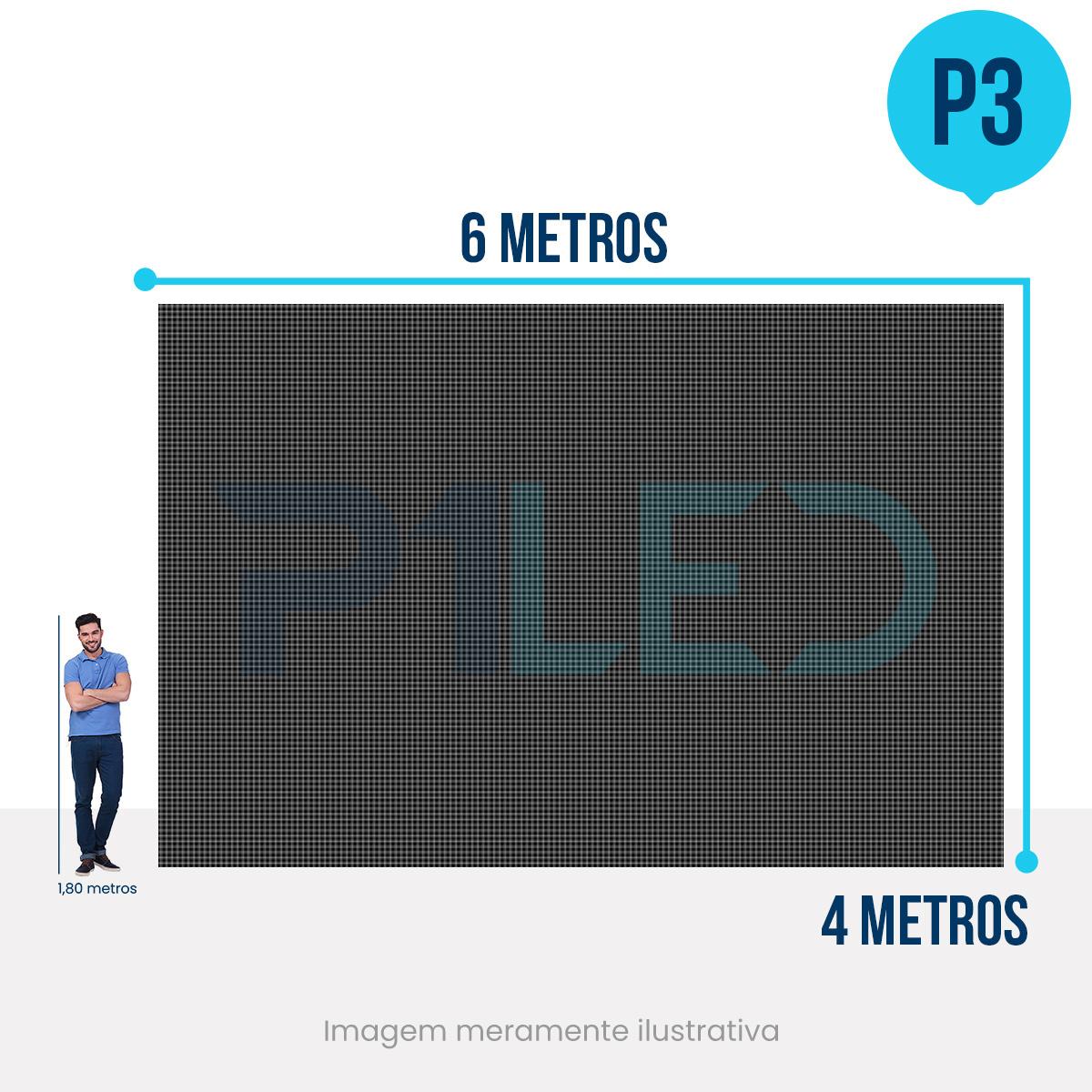 Painel de LED para Vitrine 6x4 - Telão P3 Outdoor  - Painel e Telão de LED - O Melhor Preço em Painel de LED | P1LED