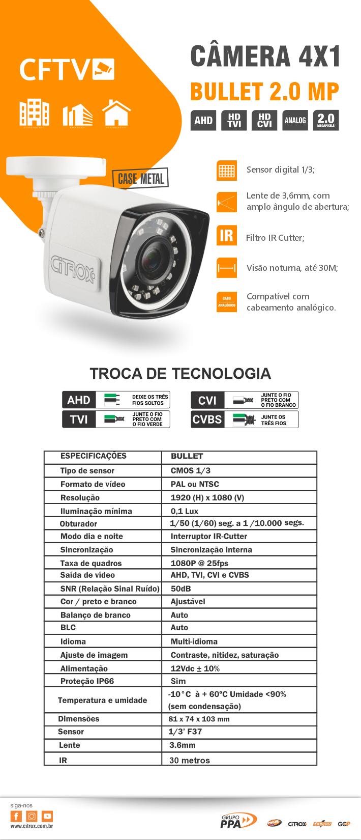 Câmera Bullet 4×1 2.0MP