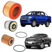 Kit Revisão Filtros Ar Combustível e Óleo Ranger 3.2 Diesel