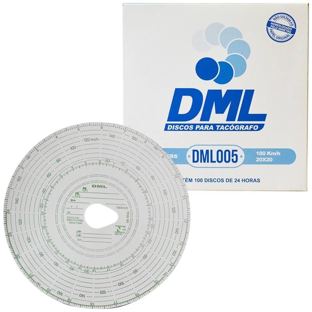 Disco Tacógrafo Diário 24 Horas 180KM/H 20X20 (C/ 100) DML