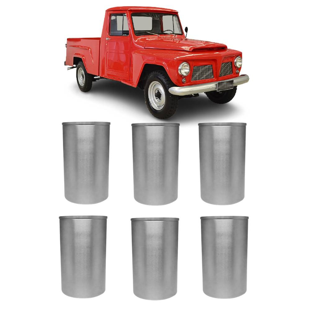 Jogo 6 Camisas Cilindro Willys F75 Jeep Rural 6 Cil. STD