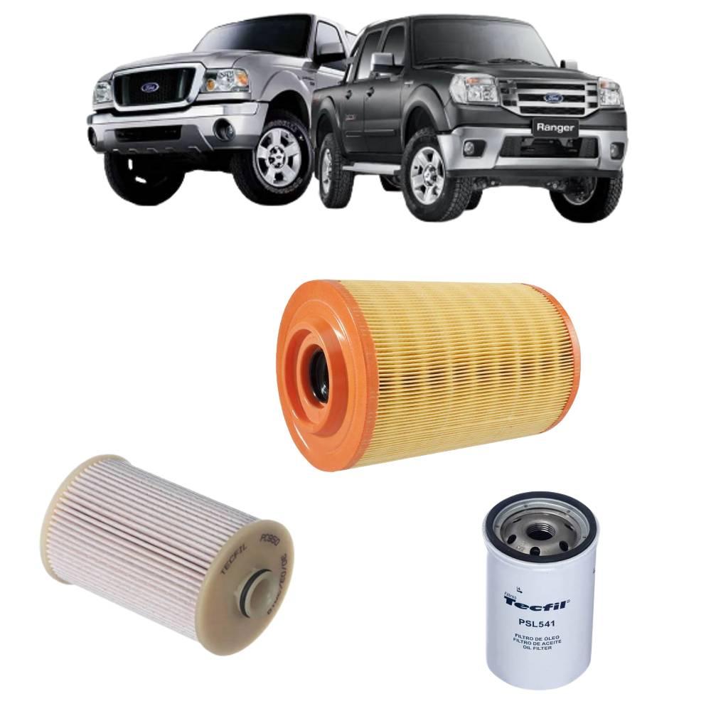 Kit Filtros Ar Combustível e Óleo Ranger 3.0 2009 a 2012