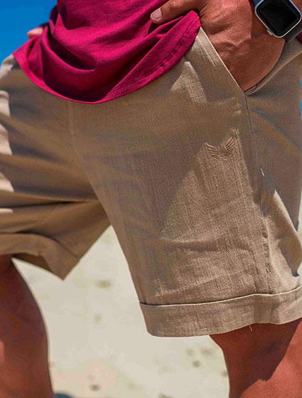 Bermuda Masculina Linho com Elastano Areia