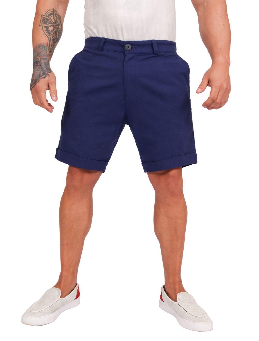 Bermuda Masculina em Linho Azul
