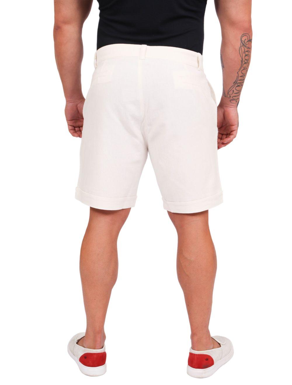 Bermuda Masculina em Linho Off White