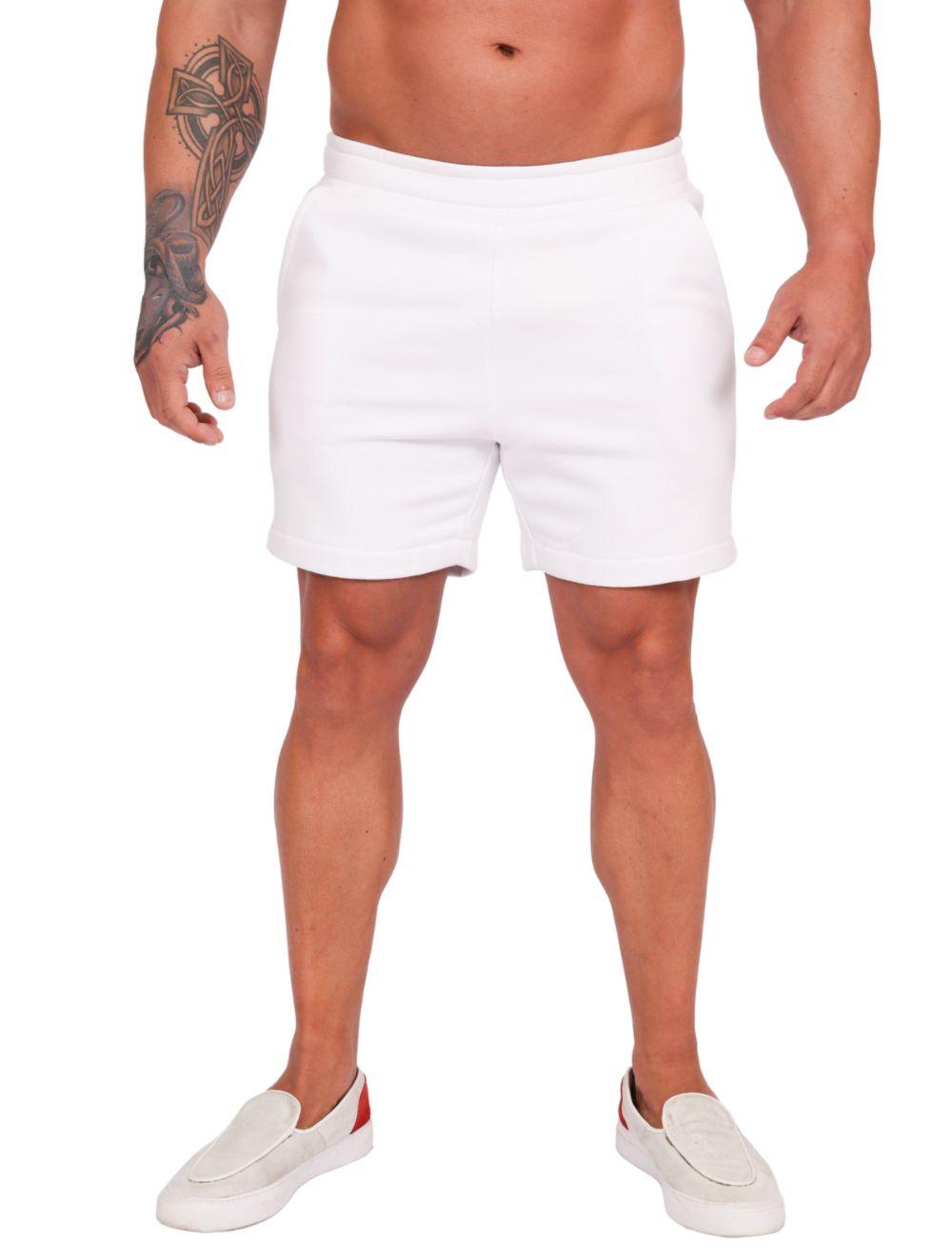 Bermuda Masculina em Moletom Branco
