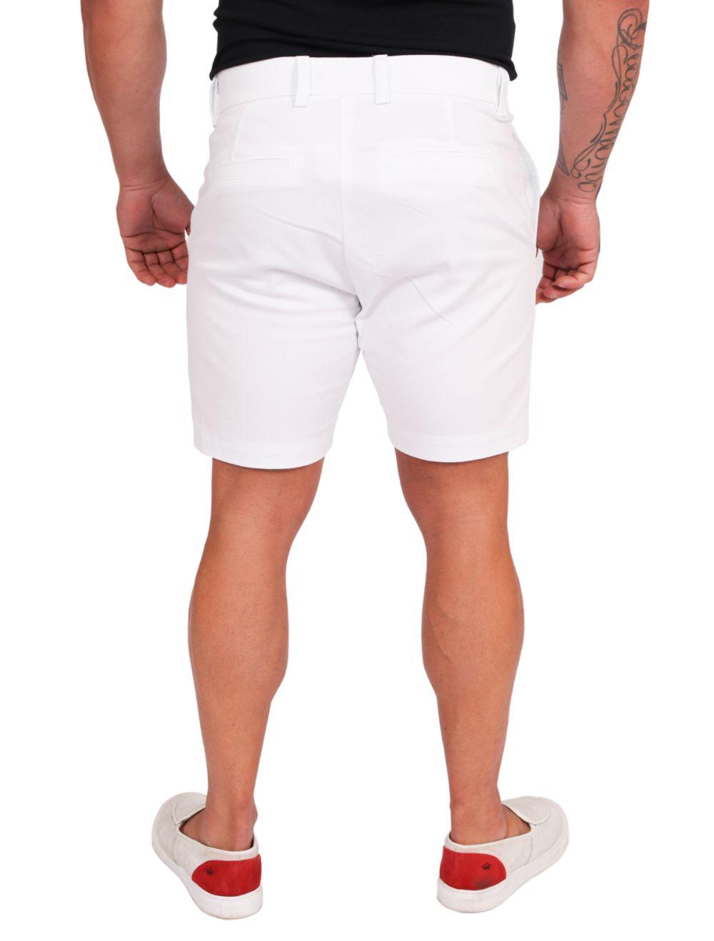 Bermuda Masculina em Sarja com Elastano Branco