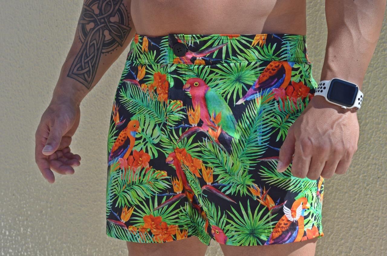 Bermuda Masculina Verde Floral Colorida