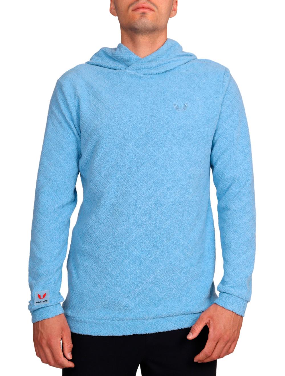 Blusa de Malha Masculina Peluciada com Capuz Azul Claro