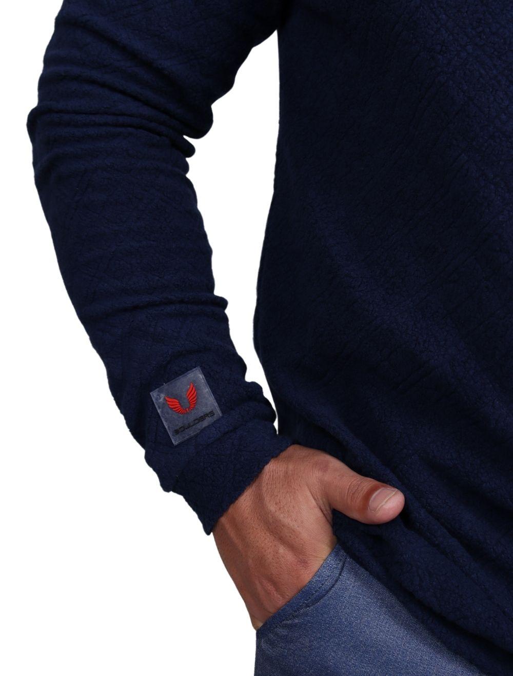 Blusa de malha Masculina Peluciada com Capuz Azul Marinho