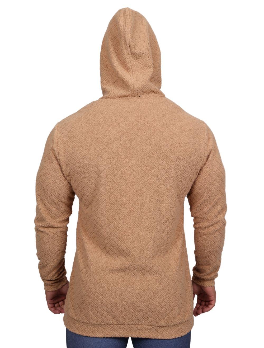 Blusa de malha Masculina Peluciada com Capuz Caramelo