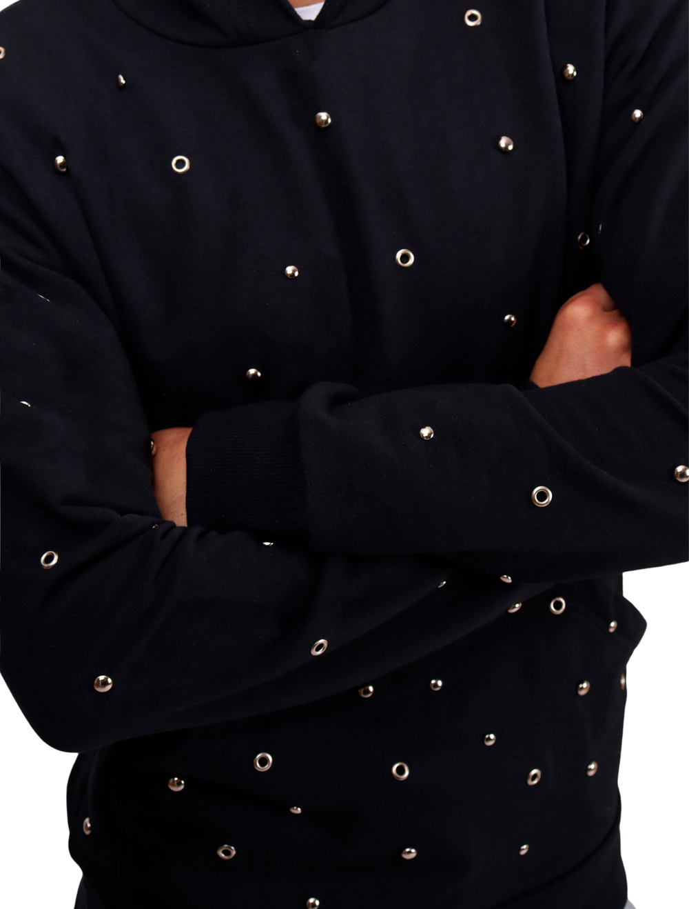 Blusa Moletom Canguru com Rebites Masculina Preto