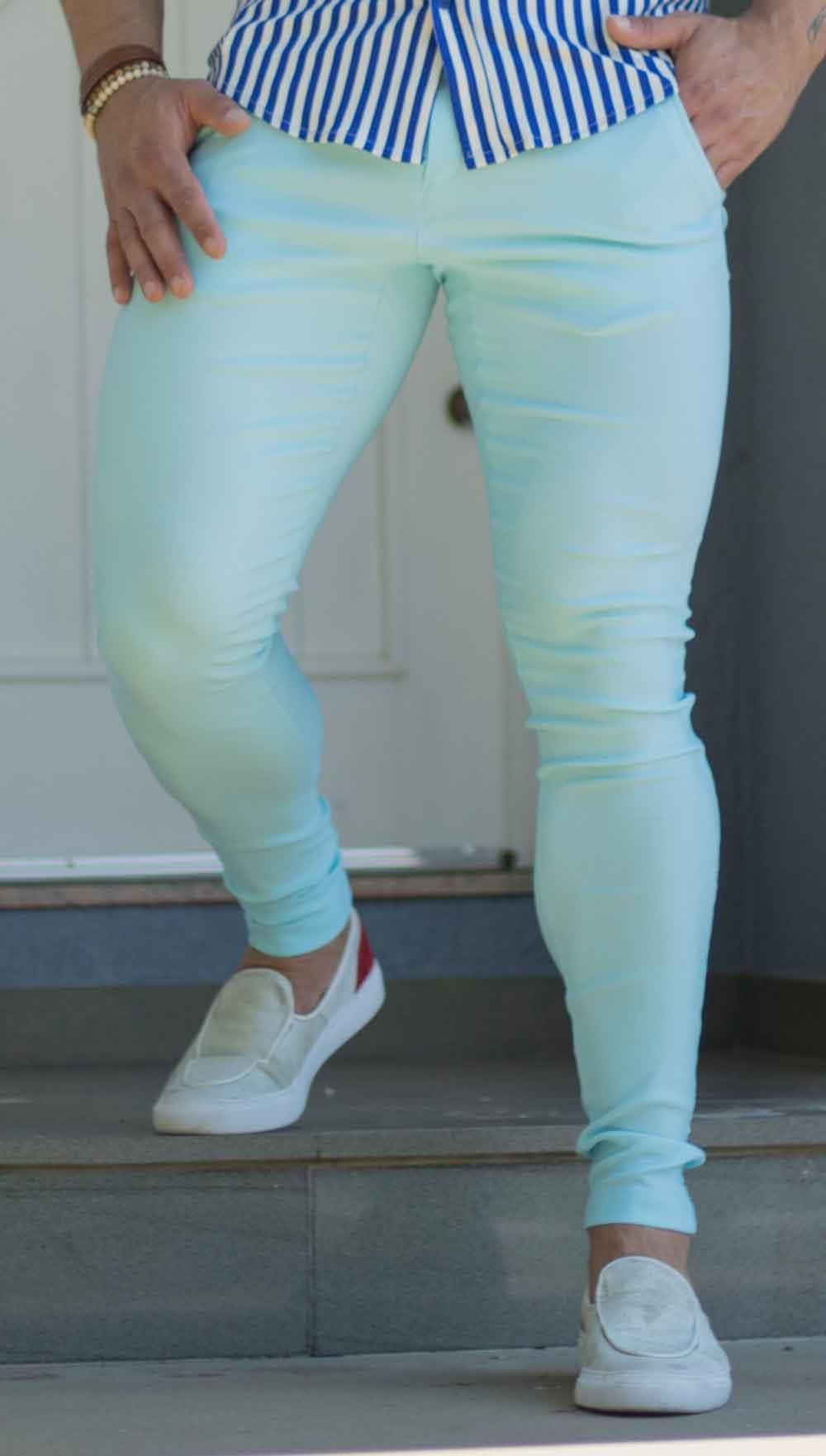 Calça Bengaline Azul Claro Ultra Skinny Power Elastano
