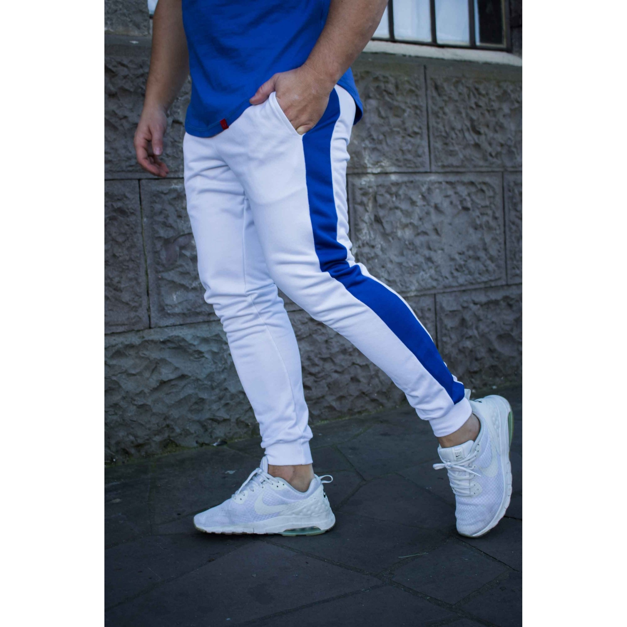Calça Masculina Slim Jogger Faixa Azul