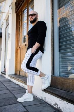 Calça Jogger Moletom Masculina Slim Listrada