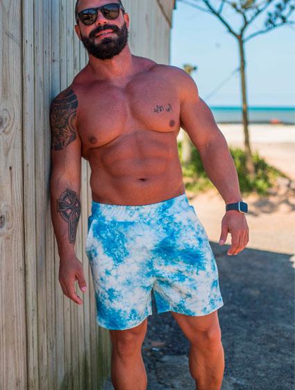 Bermuda Masculina em Moletom Azul Tie Dye