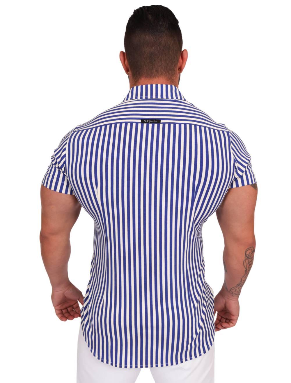 Camisa Listrada Slim Elastano Branco/Azul Royal Manga Curta