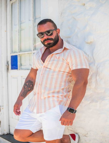 Camisa Masculina Slim Manga Curta Linho Listrado Rosa