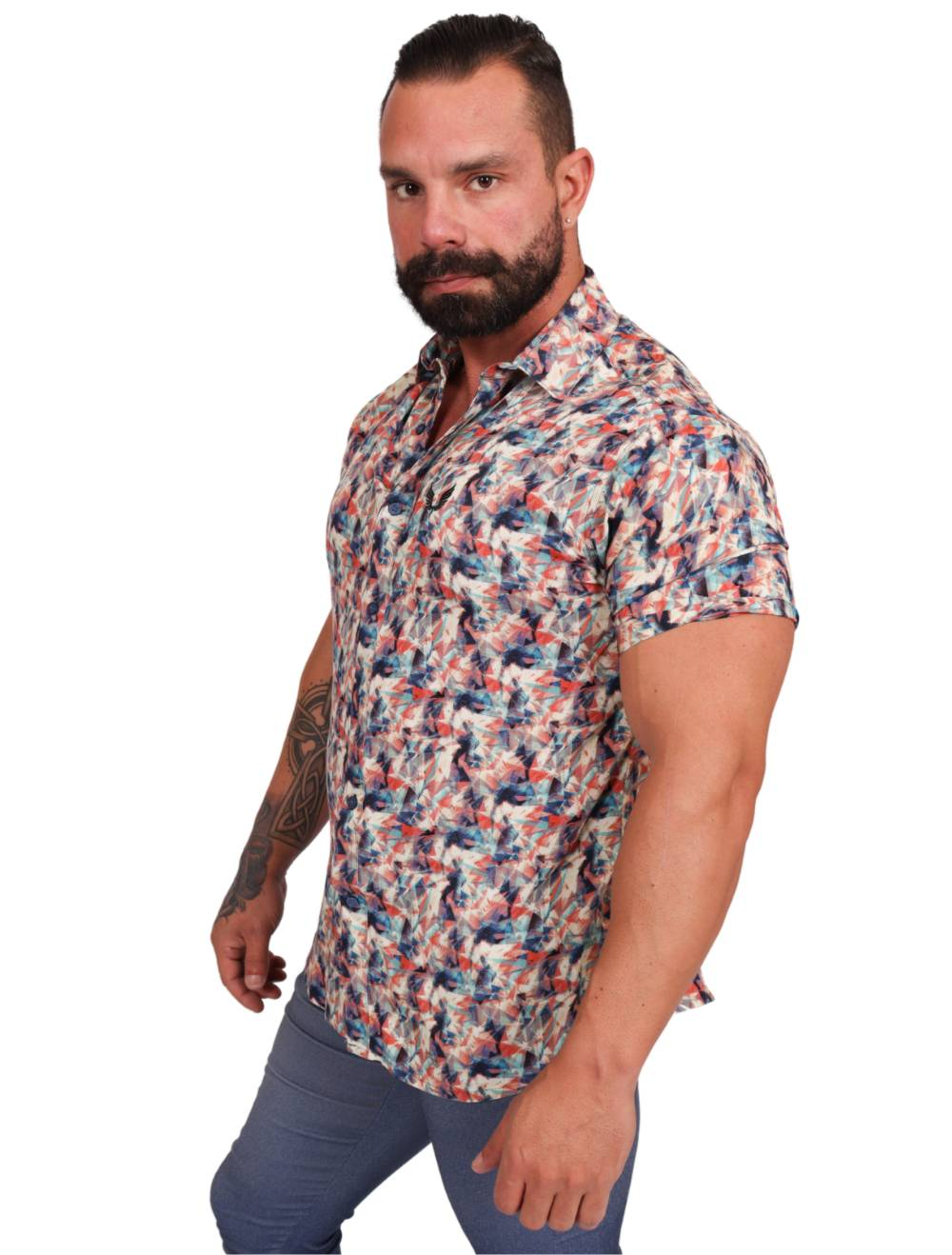 Camisa Masculina Estampada Geométrica Slim