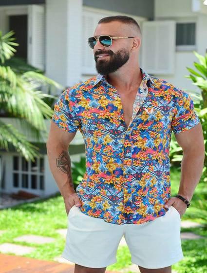 Camisa Masculina Floral Multicolor Slim