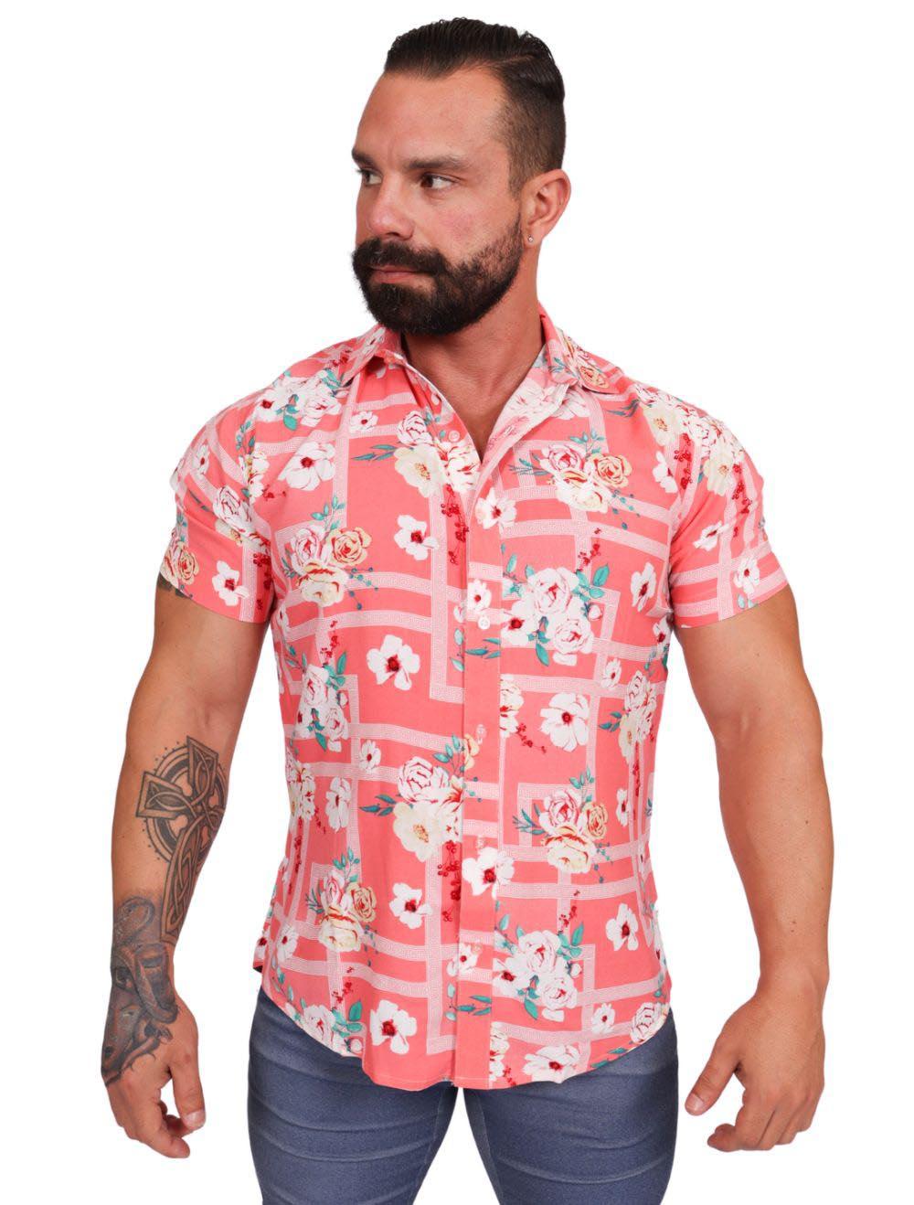 Camisa Masculina Floral Rosa Slim