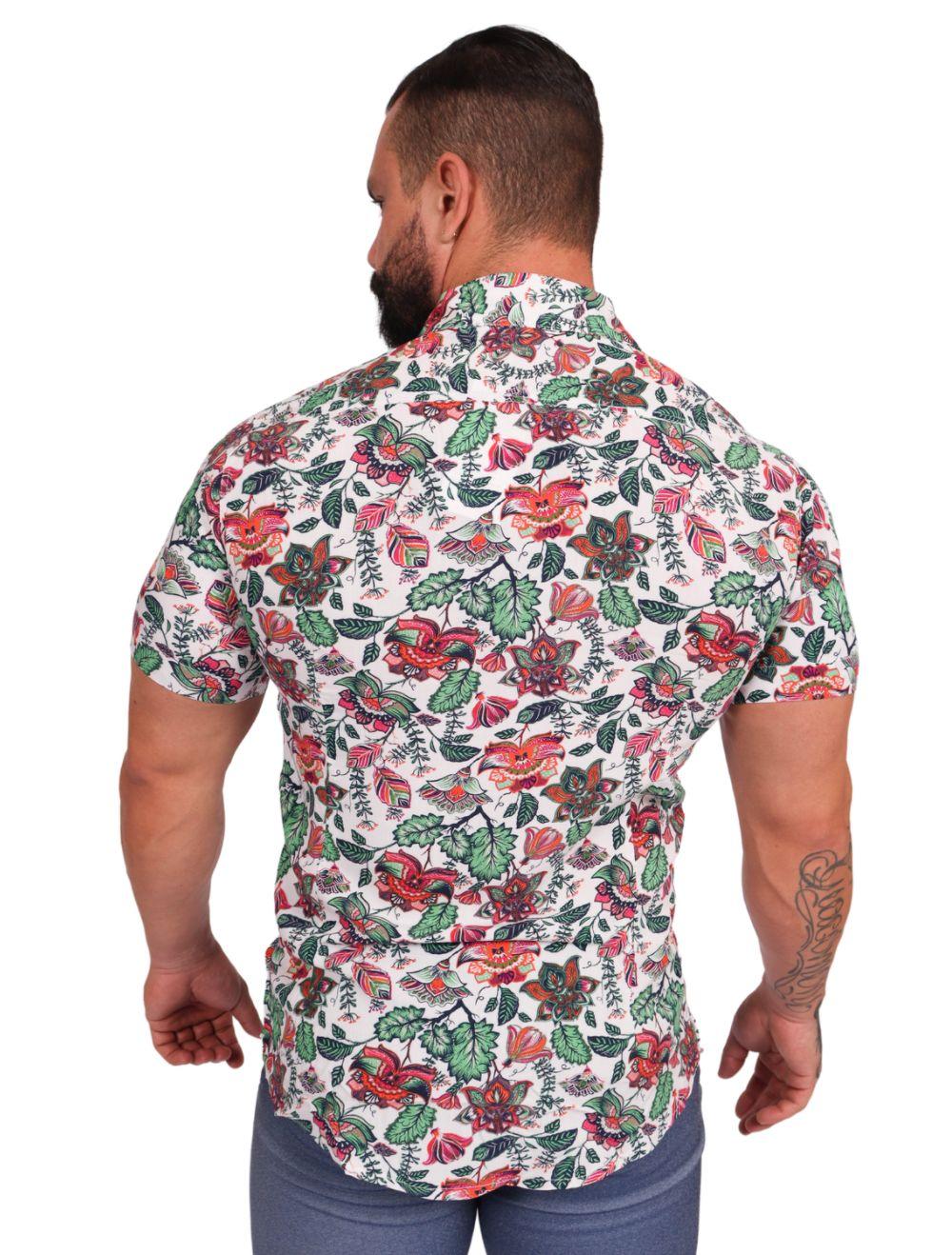 Camisa Masculina Floral Slim