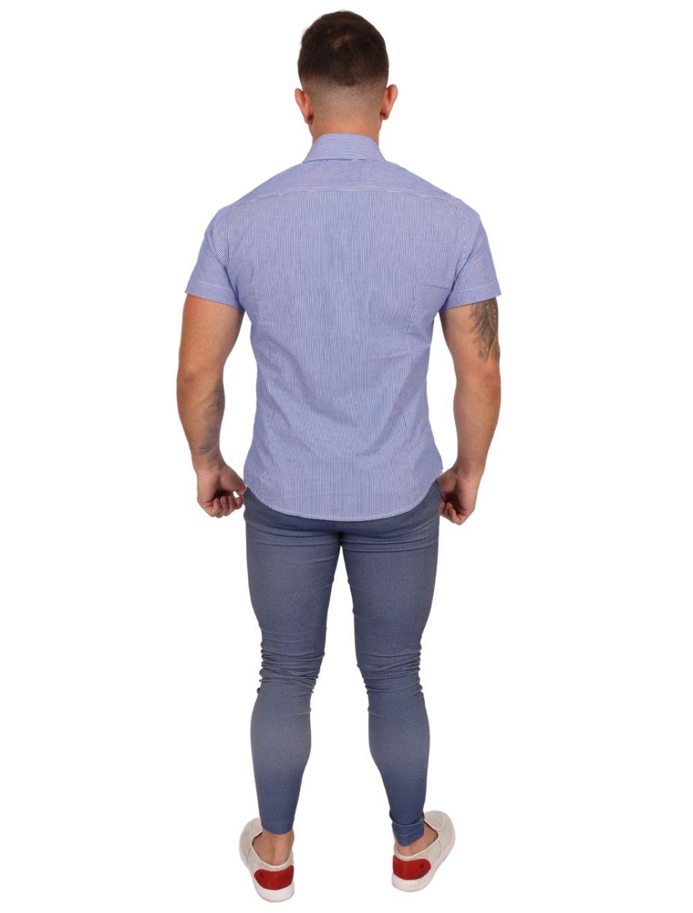 Camisa Masculina Manga Curta Azul com Listras