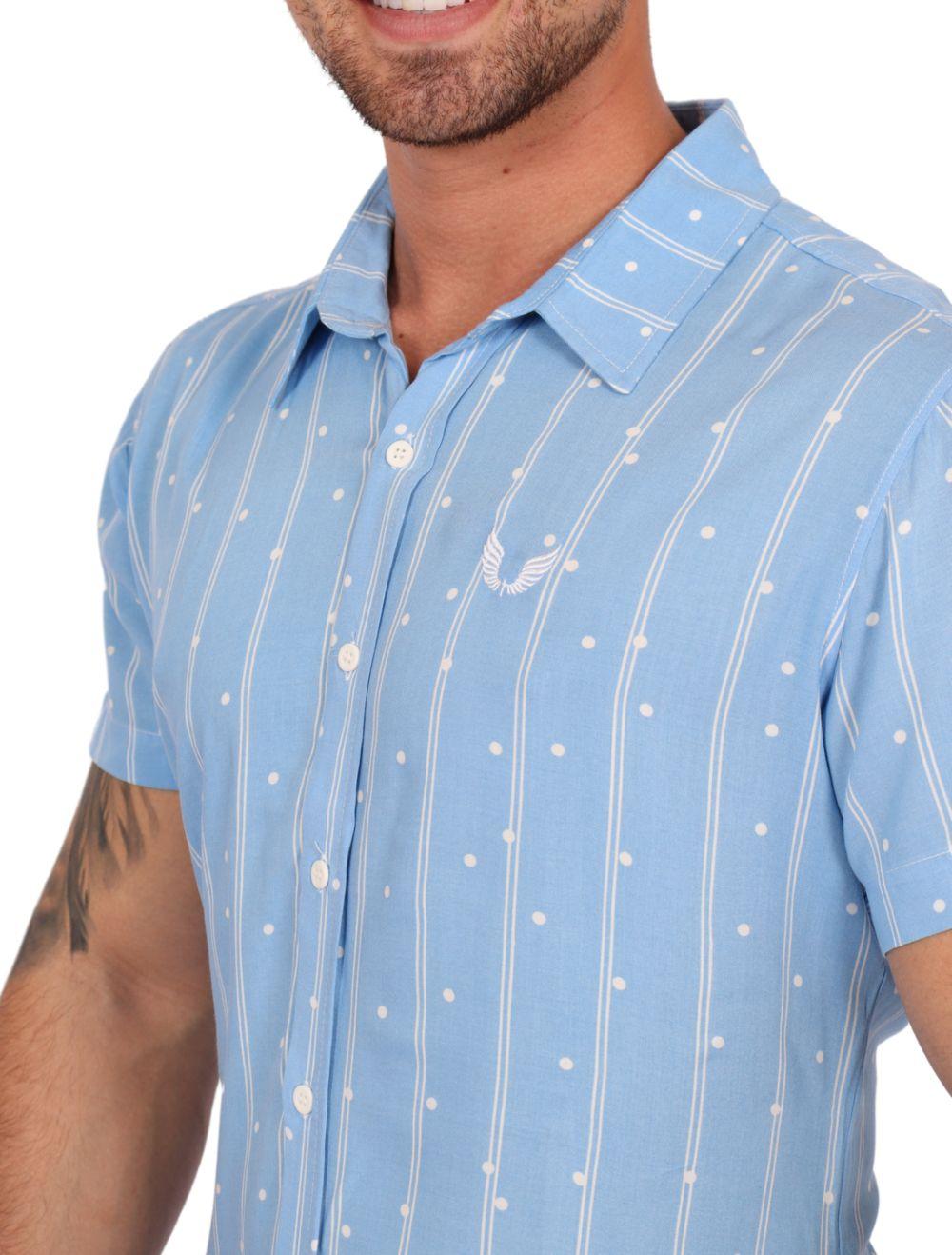 Camisa Masculina Manga Curta Azul com Listras Branca