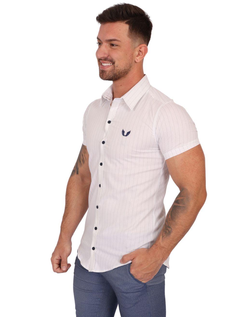 Camisa Masculina Manga Curta Branca com Listras