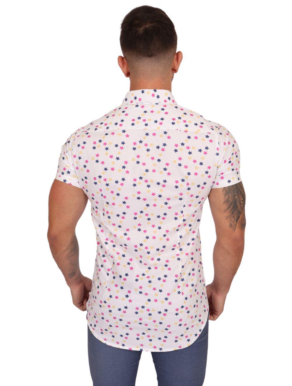 Camisa Masculina Manga Curta Branca Estrelas