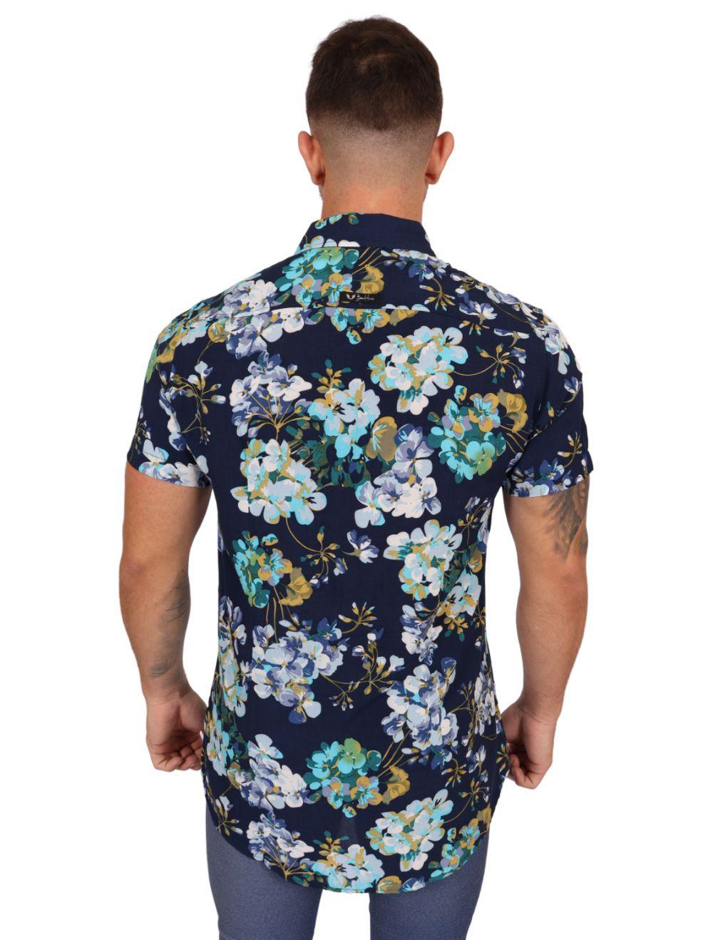 Camisa Masculina Manga Curta em Viscose Azul Marinho Floral