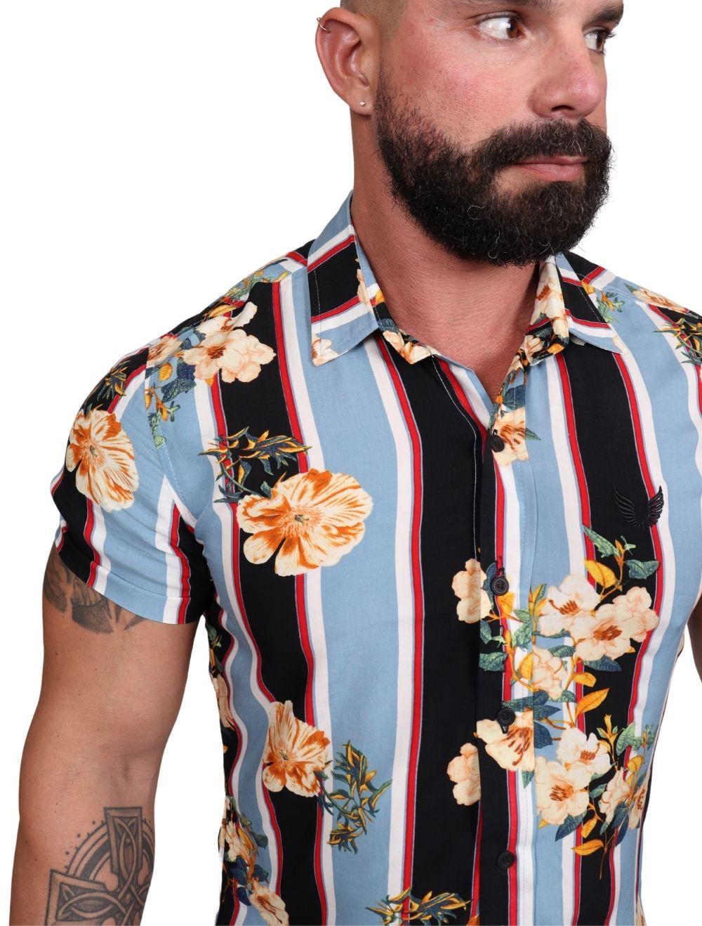 Camisa Masculina Manga Curta em Viscose Listras Floral