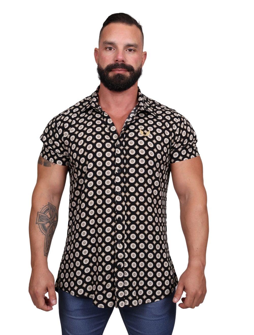 Camisa Masculina Manga Curta em Viscose Preta com Dourado