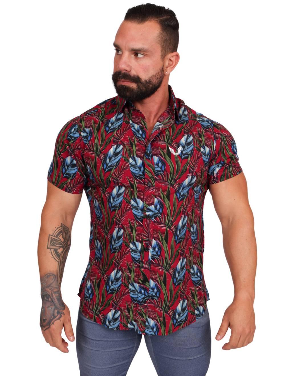 Camisa Masculina Manga Curta Estampa Folhagem Slim