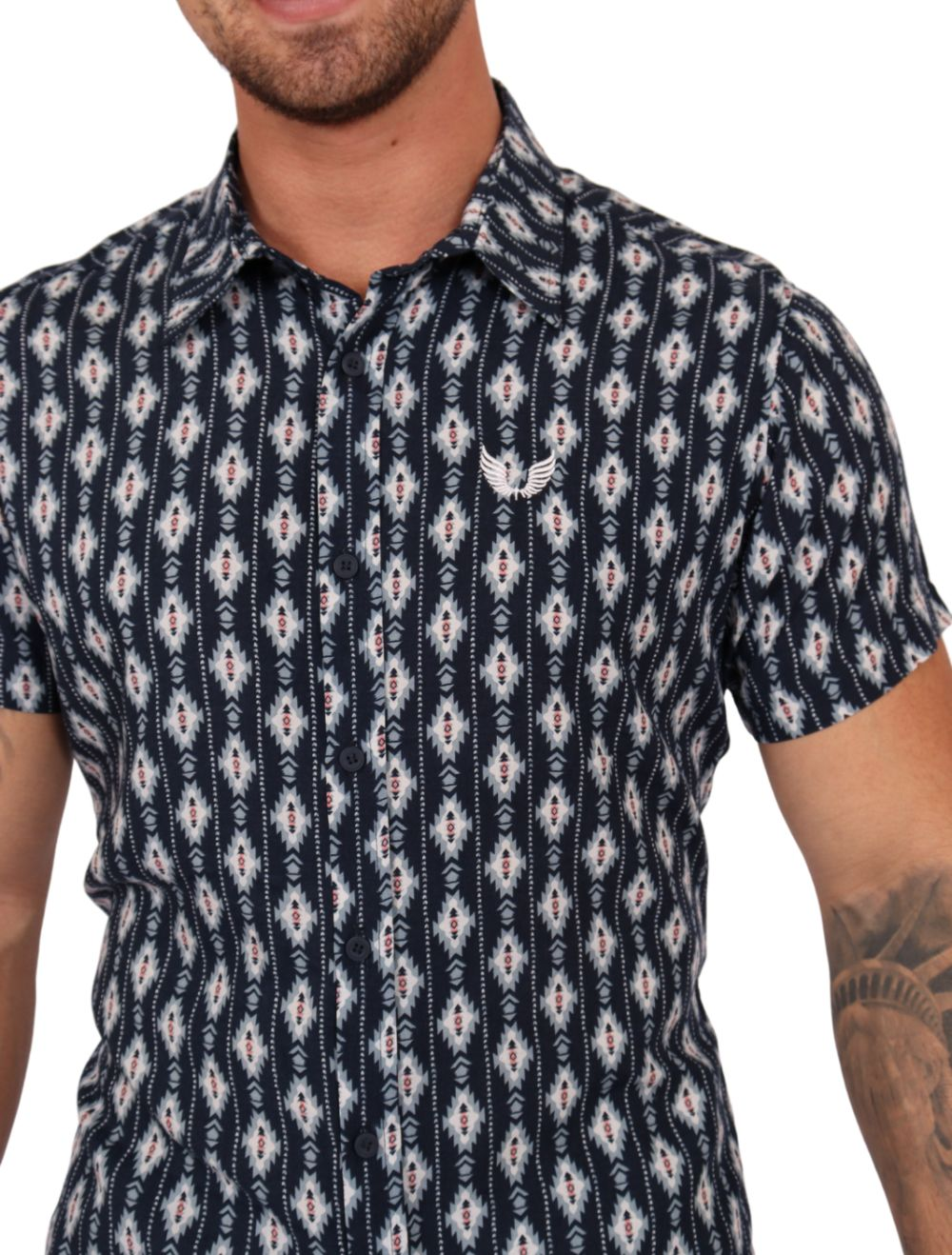 Camisa Masculina Manga Curta Estampada