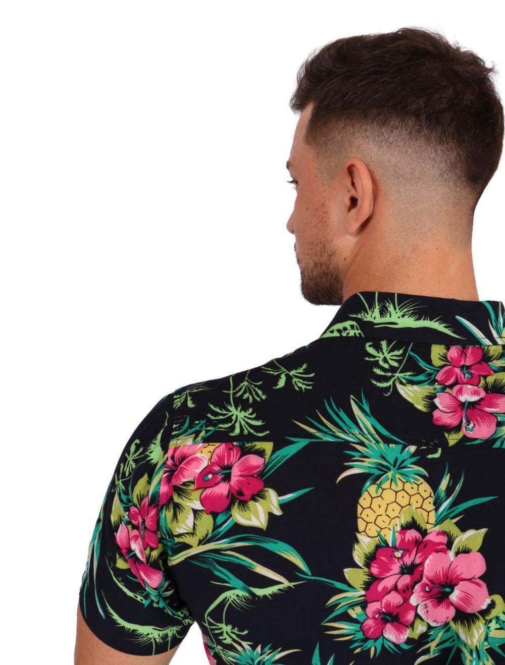 Camisa Masculina Manga Curta Floral Abacaxi