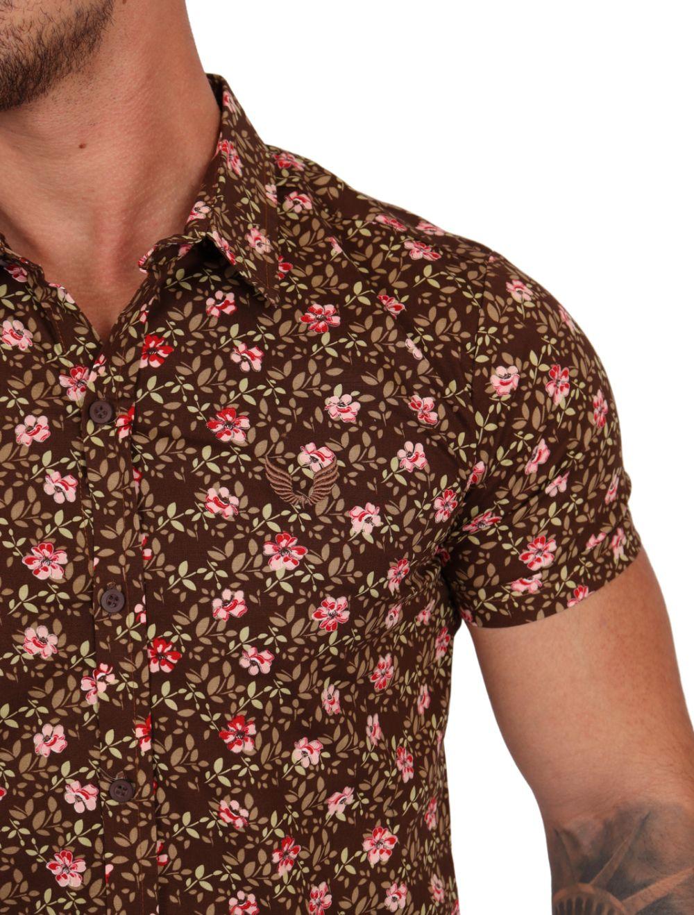 Camisa Masculina Manga Curta Floral Marrom