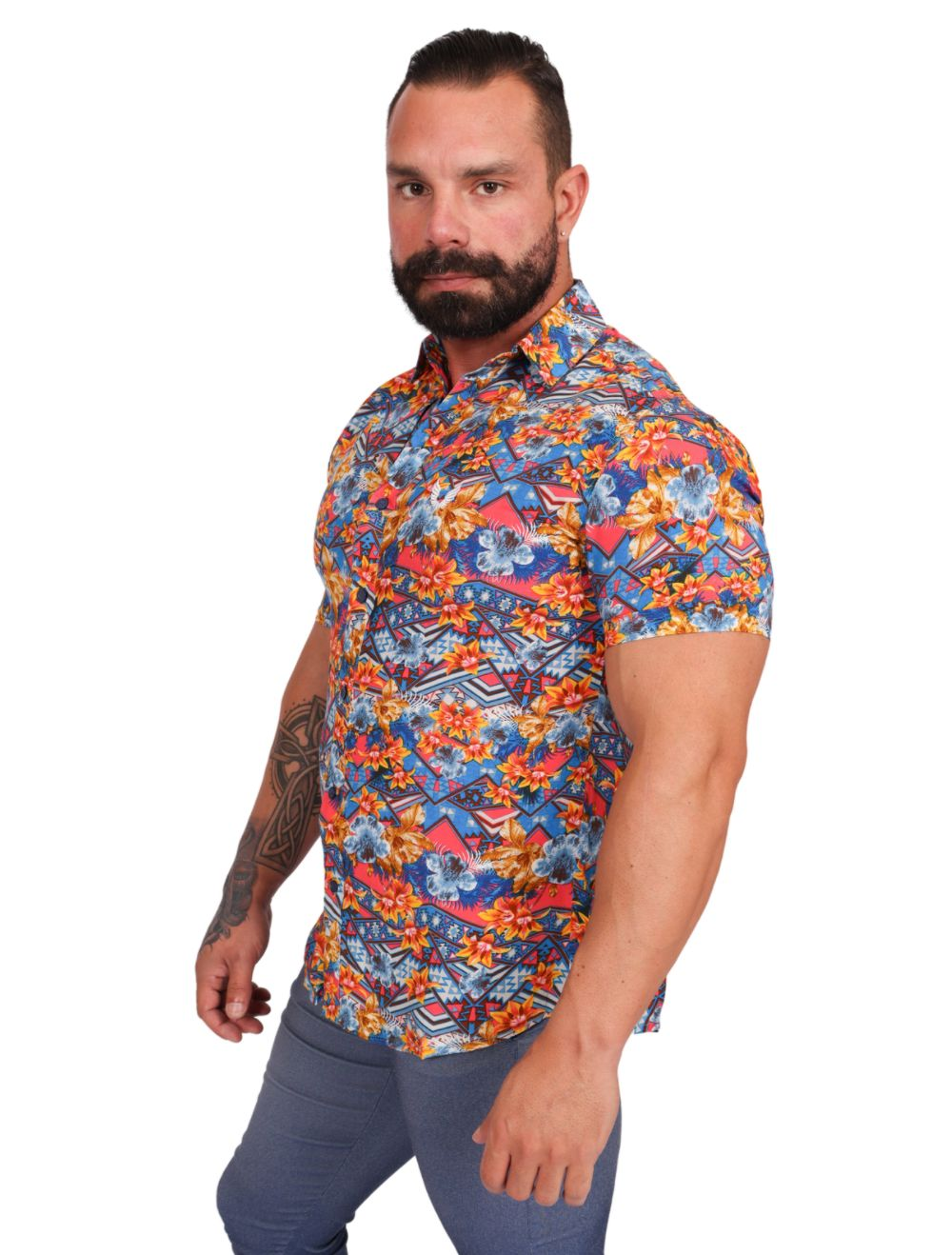 Camisa Masculina Manga Curta Floral Multicolor Slim