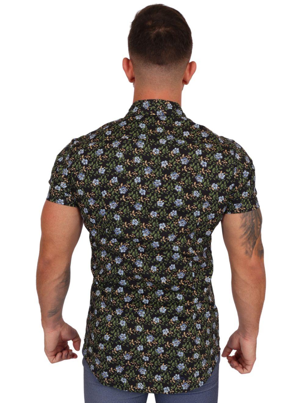 Camisa Masculina Manga Curta Floral Preto