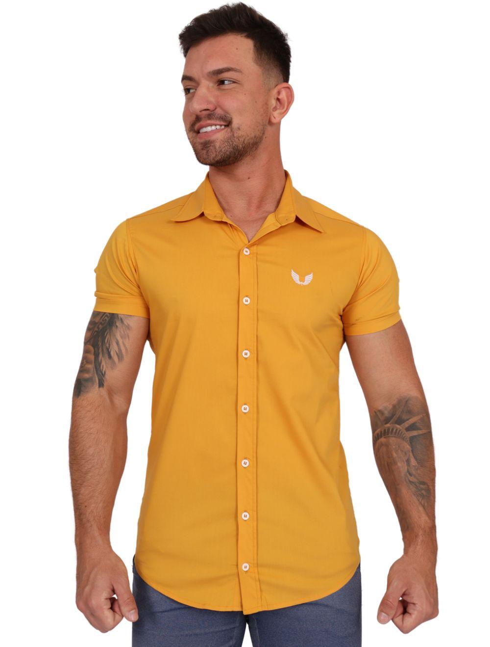 Camisa Masculina Manga Curta Lisa Amarela