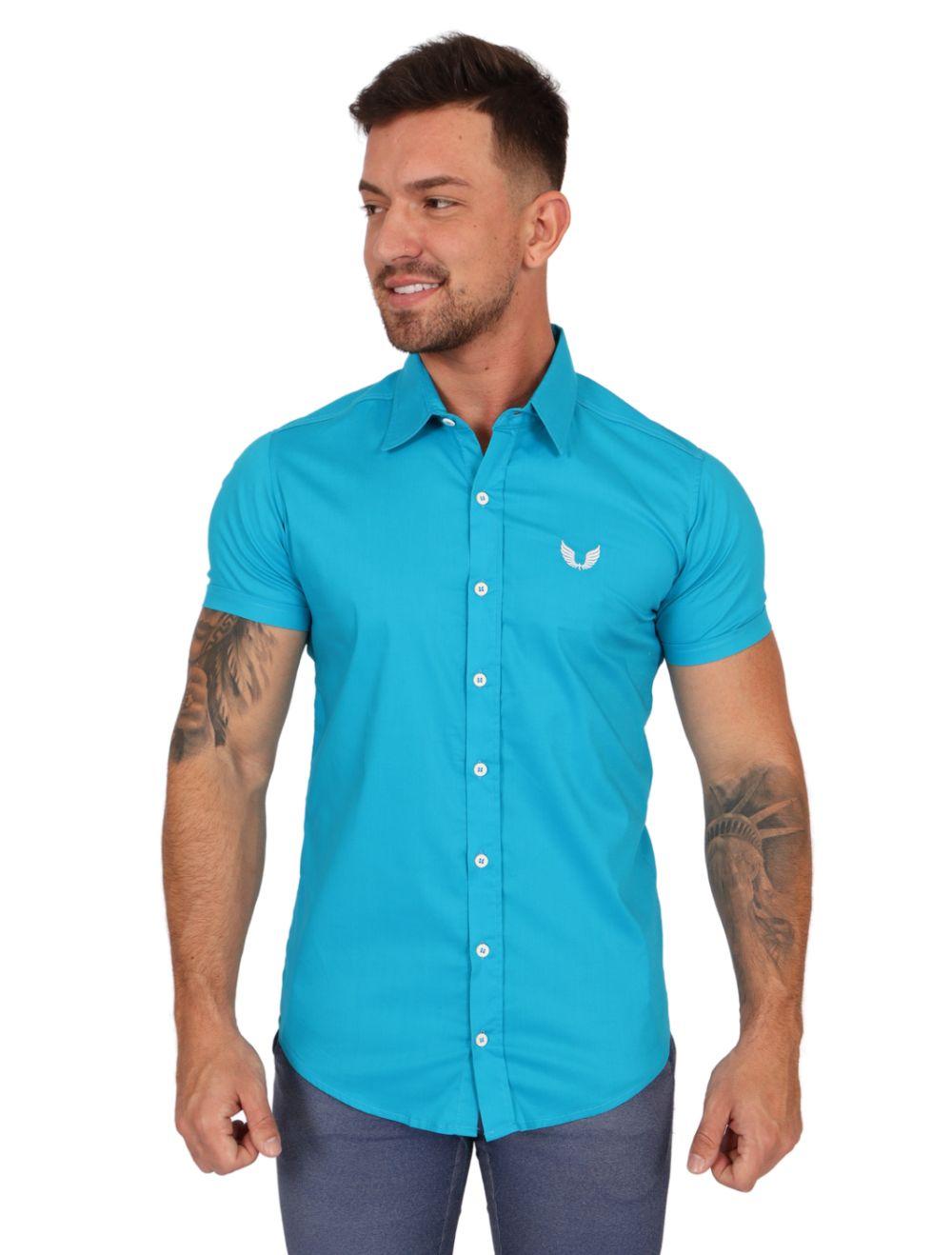 Camisa Masculina Manga Curta Lisa Azul