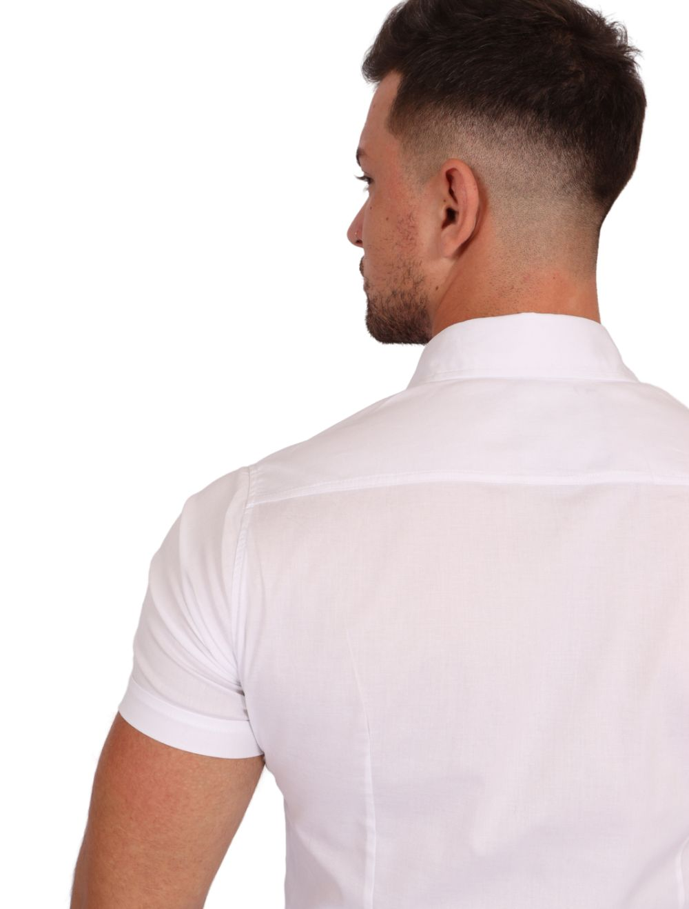 Camisa Masculina Manga Curta Lisa Branco