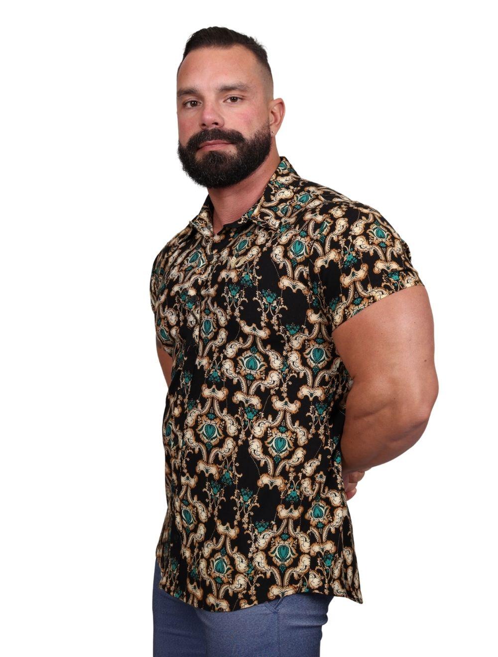 Camisa Masculina Manga Curta Preta Arabescos Dourado