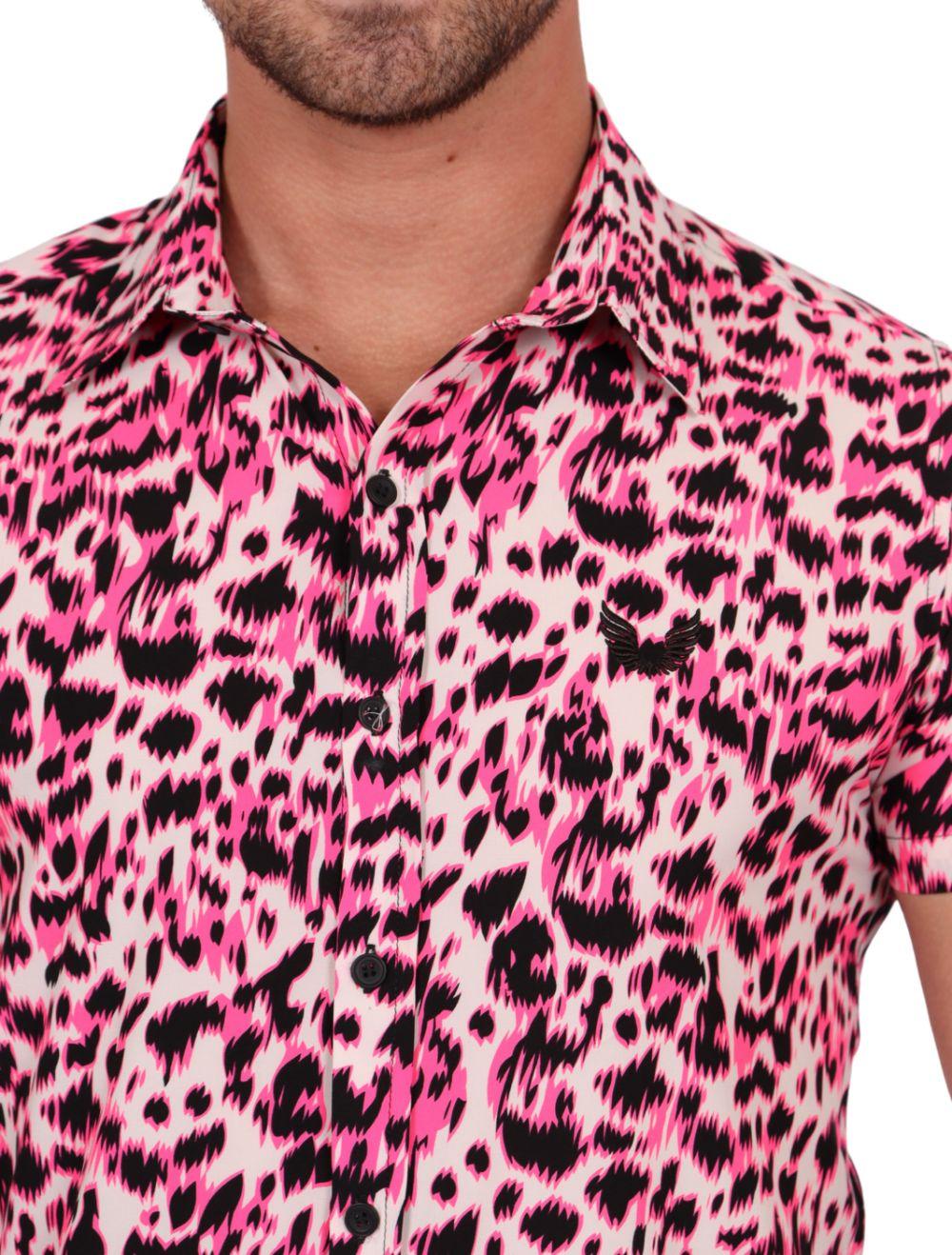 Camisa Masculina Manga Curta Rosa Estampada