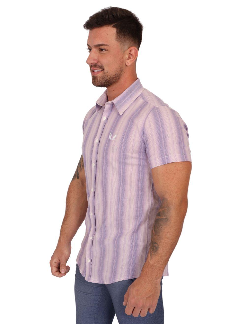 Camisa Masculina Manga Curta Roxo