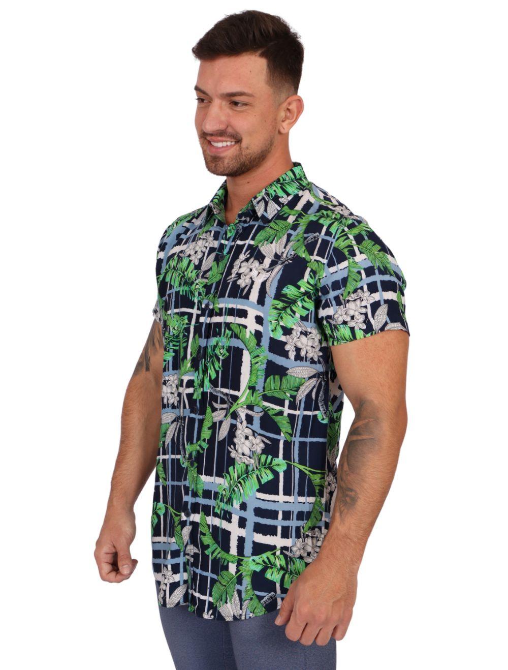 Camisa Masculina Manga Curta Slim Azul com Floral Verde