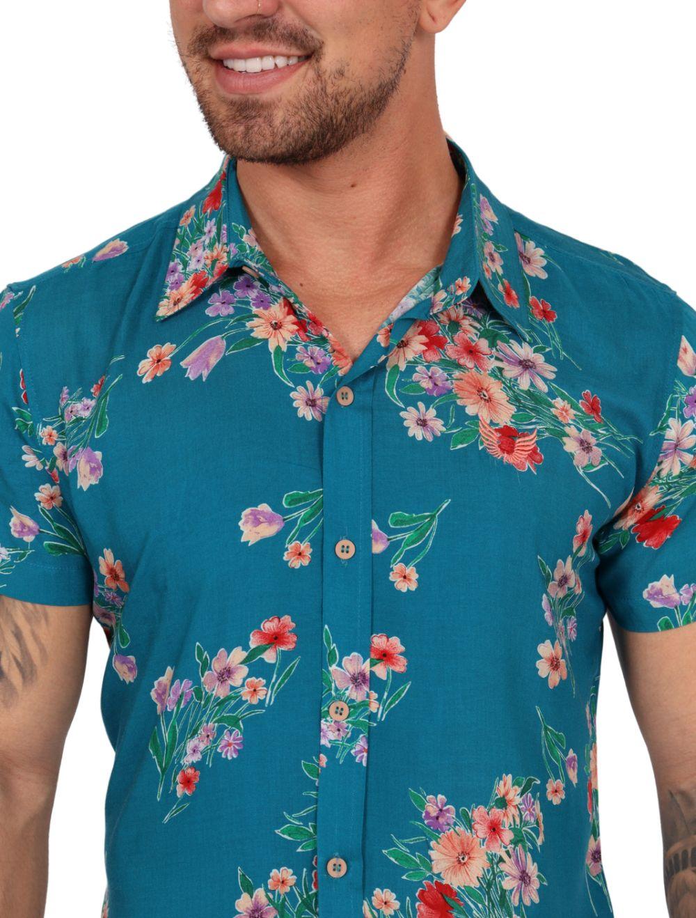 Camisa Masculina Manga Curta Slim Azul com Flores