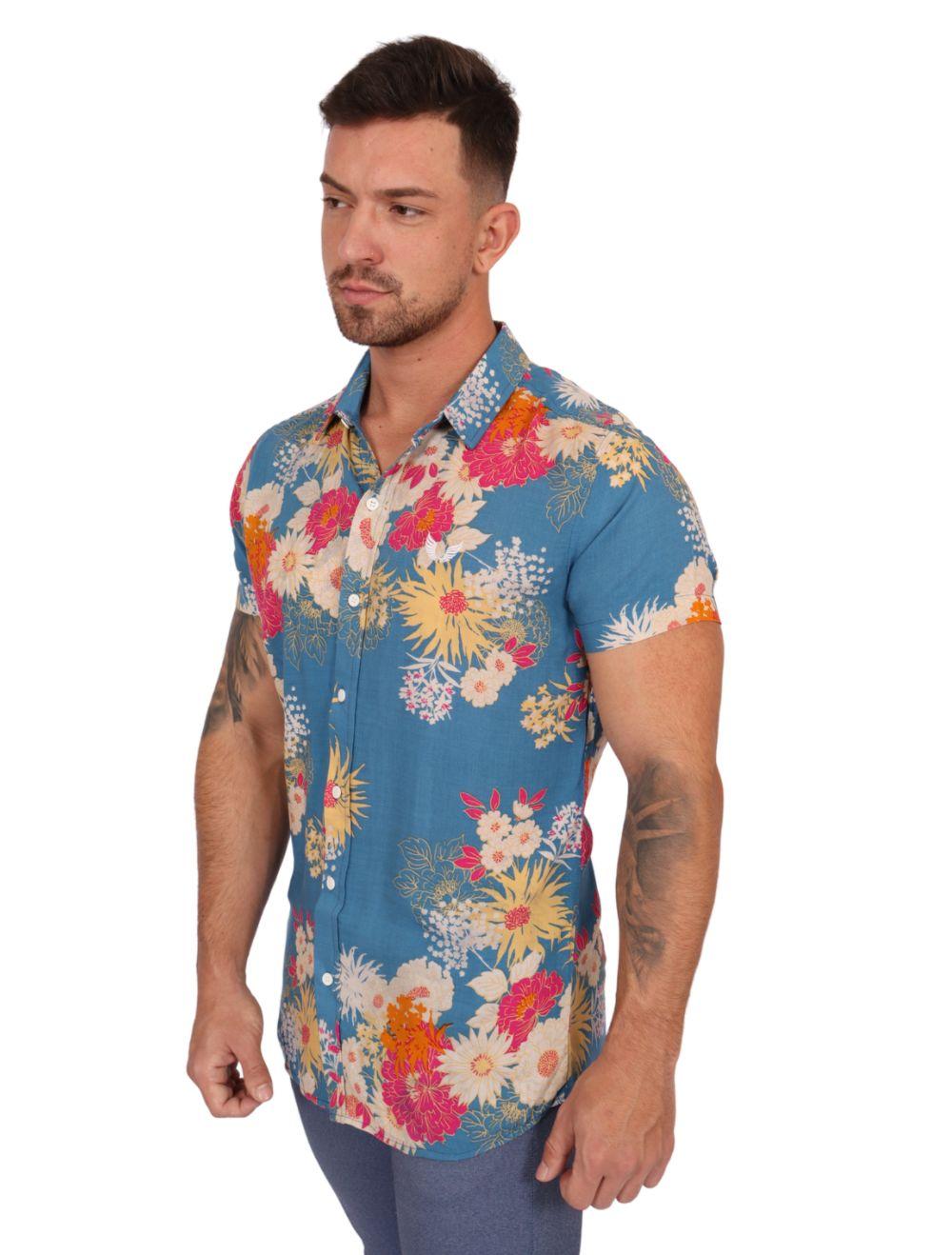 Camisa Masculina Manga Curta Slim Azul Floral